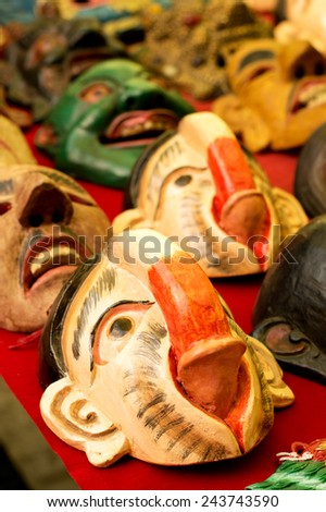 BHUTAN, THIMPU - NOVEMBER, 2014: Penis masks with phallus in its own mouth in Bhutan