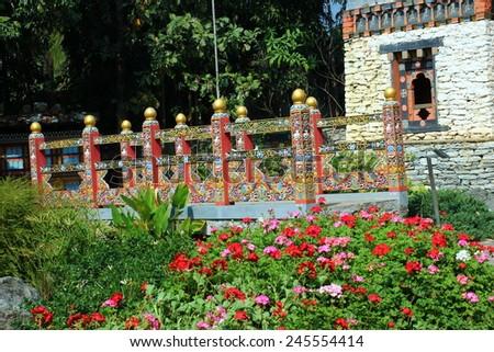 "Bhutanese style art in ""Royal Park Rajapruek"" of Thailand. - stock photo"