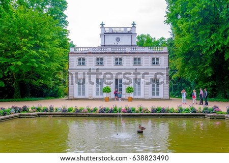Bialy Dom - White House situated inside of the Lazienki Krolewskie - Lazienki Park in Warsaw, Poland