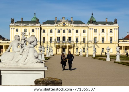 Bialystok, Poland - April 8, 2017: Famous Branicki Palace and its gardens in Bialystok. Branicki Palace was building in the first half of the 18th century.