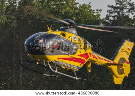 Bialystok , Poland , June 4, 2016 Rescue helicopter approaches the landing - stock photo