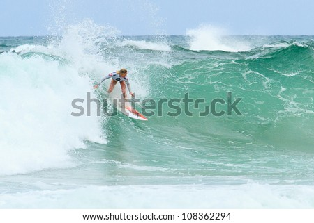 BIARRITZ, FRANCE - JULY 14: Laura Enever defeated by Carrissa Moore during the 4th quarter final at the women's pro championship Roxy Pro July 14, 2012 in Biarritz, France.