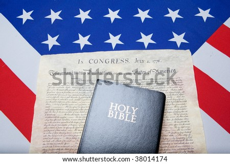 Bibel and the ensign of the USA with declaration of independence