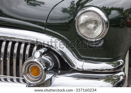 Biberach, Germany, 31 August 2015:: American vintage car, close-up of Buick front detail - stock photo