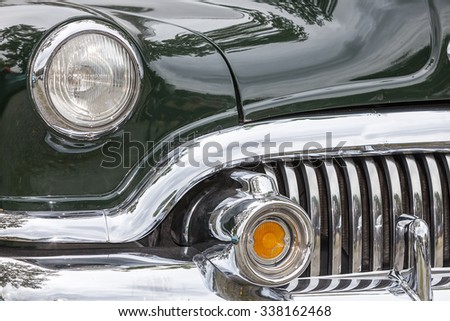Biberach, Germany, 31 August 2015: American vintage car, close-up of Buick front detail