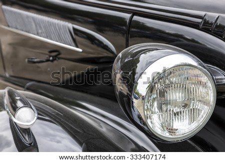 Biberach, Germany, 31 August 2013: American vintage car, close-up of front detail