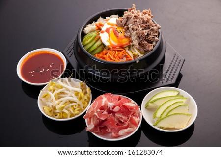 Bibimbap, Korean food - stock photo