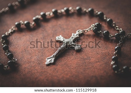 bible and crucifix - stock photo