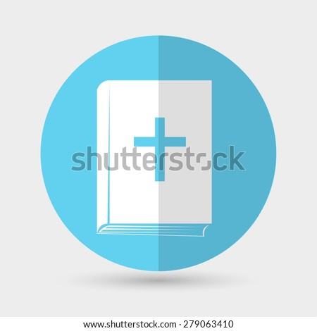 Bible book icon on a white background - stock photo