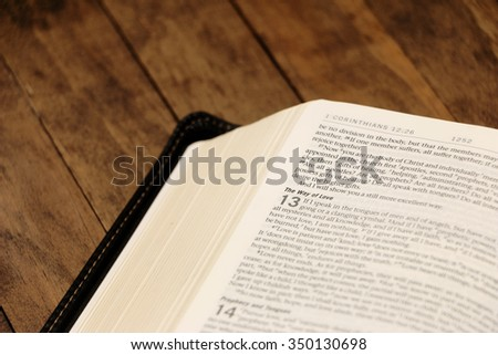 Bible on a Wooden Table