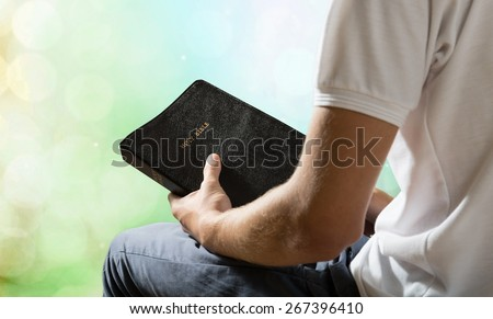 Bible, Praying, Men. - stock photo