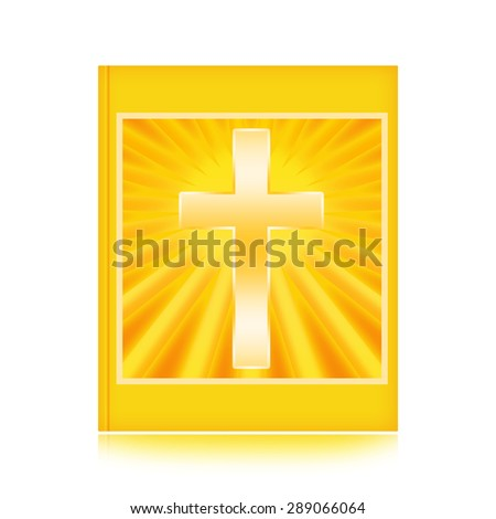 Bible with shining Holy Cross - stock photo