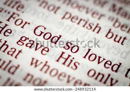 Biblical text. John 3.16. Golden verse - stock photo