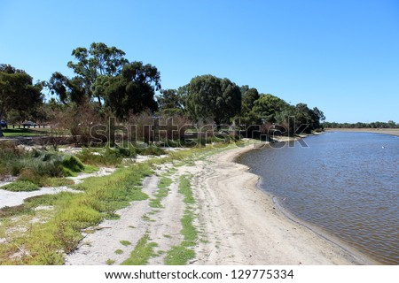Bibra Lake western Australia after a long hot dry summer with  little water left for wild birds   but still a popular Perth city  metropolitan picnic place for families.