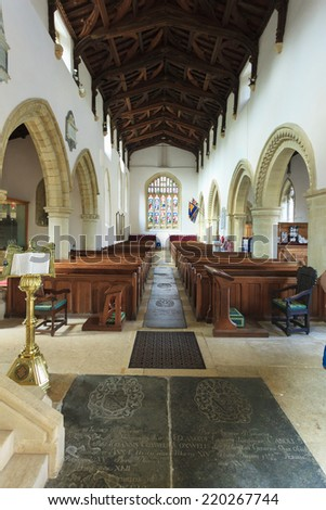 BIBURY, ENGLAND, UK - SEPTEMBER 21, 2014: St Mary Parish Church inside in Bibury in Cotswold district on September 21, 2014, England.