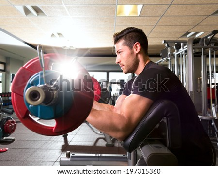 biceps preacher bench arm curl workout man at fitness gym - stock photo