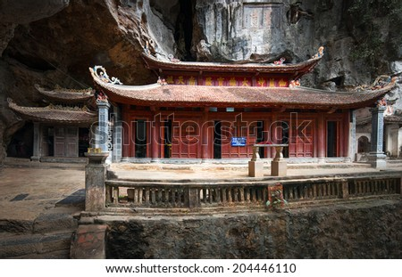 Bich Dong Pagoda in Ninh Binh, Vietnam. Trung Pagoda (middle pagoda) - stock photo
