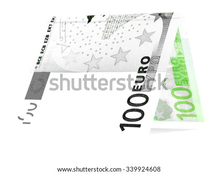 Bicolor euro folded in half, money hut, currency angle, isolated