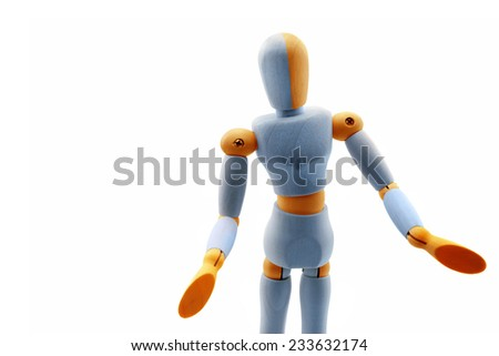 """Bicolored wooden dummy in """"Well"""" pose isolated on white. - stock photo"""