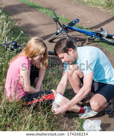 bicycle accident - stock photo