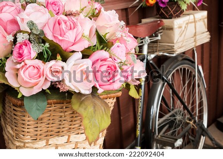 bicycle and flowers - stock photo