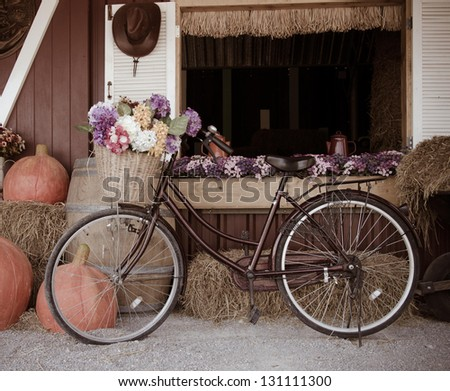 Bicycle and flowers. A beautiful vintage. - stock photo