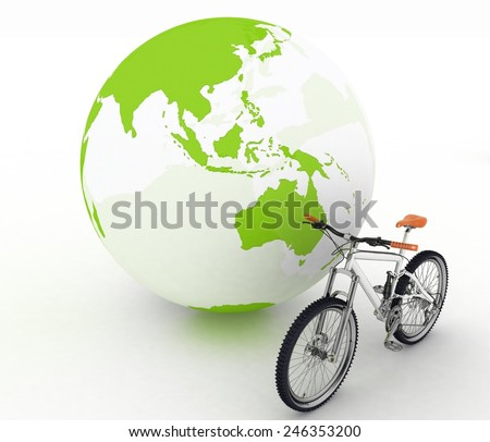 Bicycle and globe. Conception of tourism on an ecological transport - stock photo