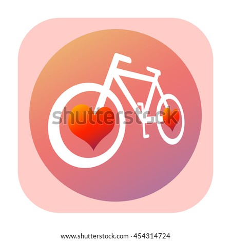 Bicycle and hearts icon - stock photo