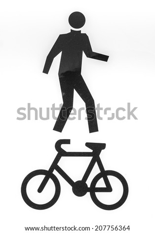 Bicycle and pedestrian lane road sign on pole post, large white square isolated bike cycling and walking walkway footpath route traffic roadside signage - stock photo
