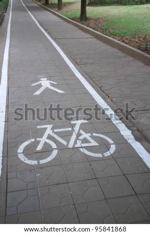 bicycle and walk lane, Bicycle sign - stock photo