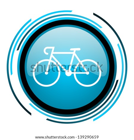 bicycle blue circle glossy icon