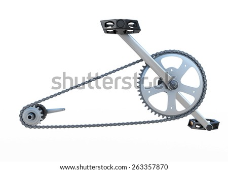 Bicycle chain with pedals front view isolated on white background. 3d render image. - stock photo
