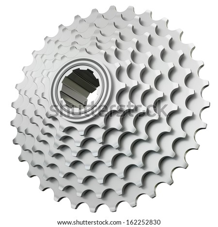 Bicycle cogset isolated on a white background. 3D render. - stock photo