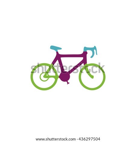 Bicycle. Color simple flat icon on white background - stock photo