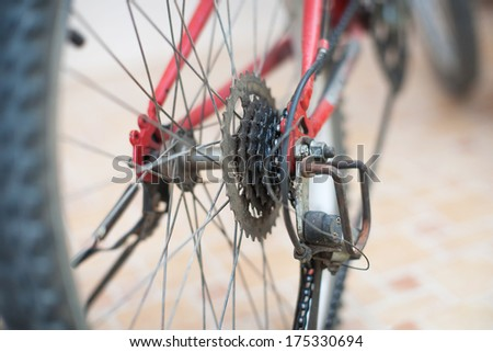 Bicycle dirty chain , gears and rear derailleur - stock photo