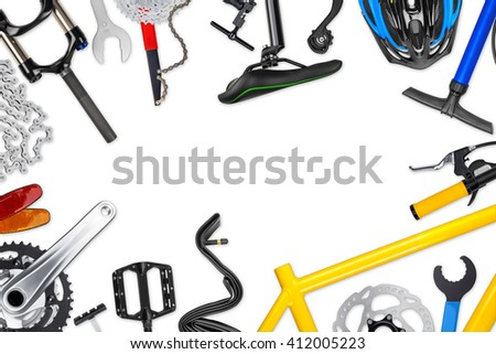 bicycle frame with parts isolated on white background