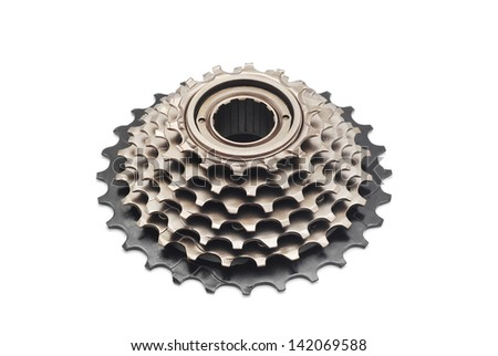 bicycle gear cogwheel on white - stock photo