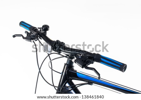 bicycle hand brake and shifter on white - stock photo