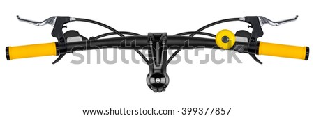 bicycle handlebar with yellow grips isolated on white background
