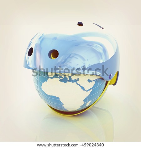 Bicycle helmet on earth. The concept of healthy life and sport on a white background. 3D illustration. Vintage style.
