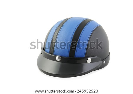 Bicycle helmet with visor isolated over white - stock photo