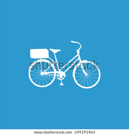 bicycle icon, isolated, white on the blue background. Exclusive Symbols