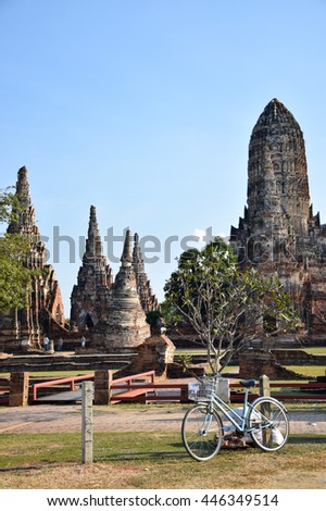 bicycle in front pagoda of temple, Ayutthaya, central of Thailand, World Heritage, blue sky, blue sky cloud, - stock photo