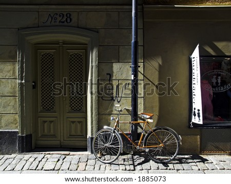 Bicycle in Old city, Stockholm - stock photo