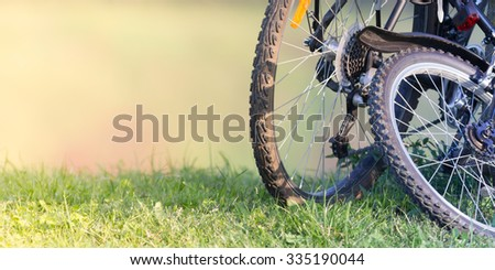 Bicycle in the street, close up photo
