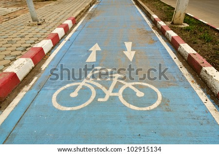bicycle lane, bicycle path, cycle path - stock photo