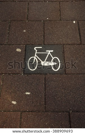 Bicycle lane in Amsterdam, Netherlands