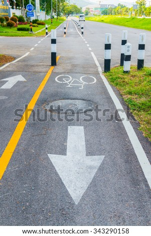 Bicycle lane in Thai, Thailand. - stock photo