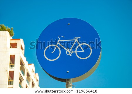 Bicycle lane road - round bike cycling sign - stock photo