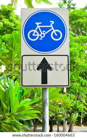 Bicycle lane sign with blue round